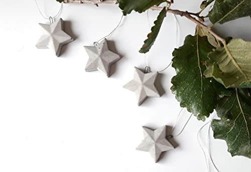 Amazon Com Christmas Star Ornaments Set Of 6 Grey Concrete Star Christmas Decoration Rustic Home Holiday Décor Industrial Christmas Party Favor Handmade