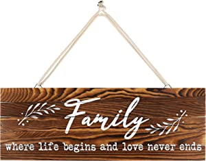 "Rustic Wood Home Sign, Family. Real Pallet Wood Sign for Rustic Home Decor, Farmhouse Home Wall Decor with Family Sign. 6"" x17"""