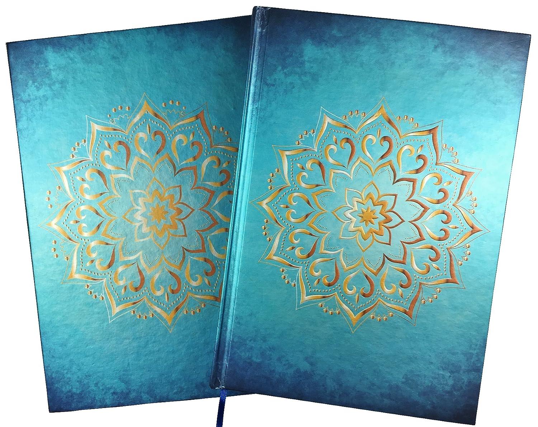 Carnet / Journal: Mandala, coleur turquoise d'or, A5, blanc, livre relíe, avec boîte à cadeau coleur turquoise d' or My-Life-24