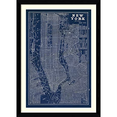Amazon framed art print blueprint map new york by susan framed art print blueprint map new york by susan schlabach outer size malvernweather Gallery