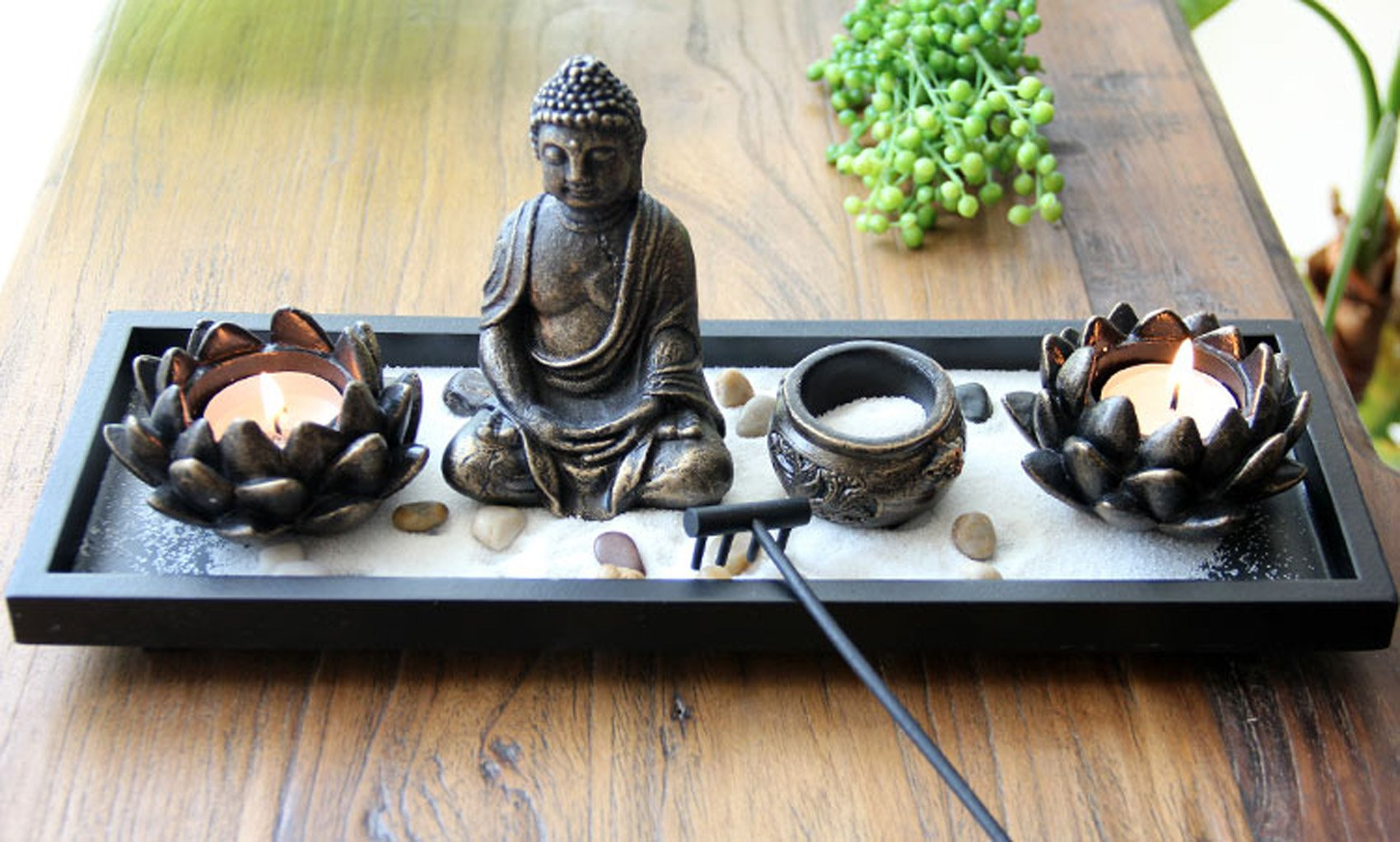 Feng Shui Tabletop Zen Garden Buddha Rock Rake Sand Candle Incense Burner Home Decor Gift (KT00034) ~ We Pay Your Sales Tax by We pay your sales tax (Image #2)