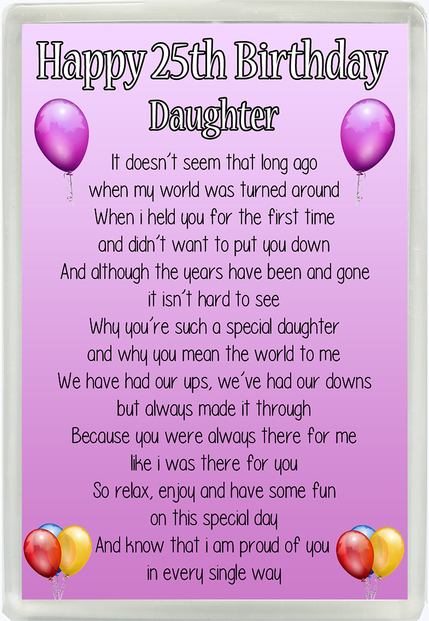 Happy 25th Birthday Daughter Poem Jumbo Fridge Magnet Ideal Birthday Gift M95