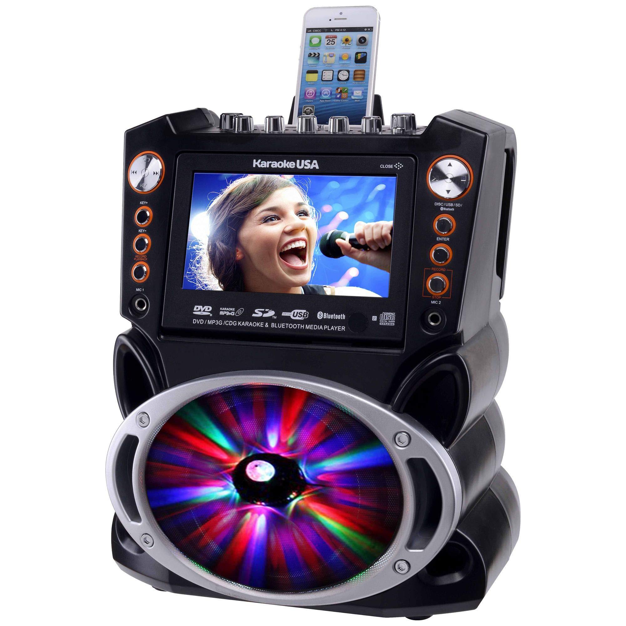 Karaoke USA GF846 DVD/CDG/MP3G Karaoke Machine with 7'' TFT Color Screen, Record, Bluetooth and LED Sync Lights by Karaoke USA (Image #5)