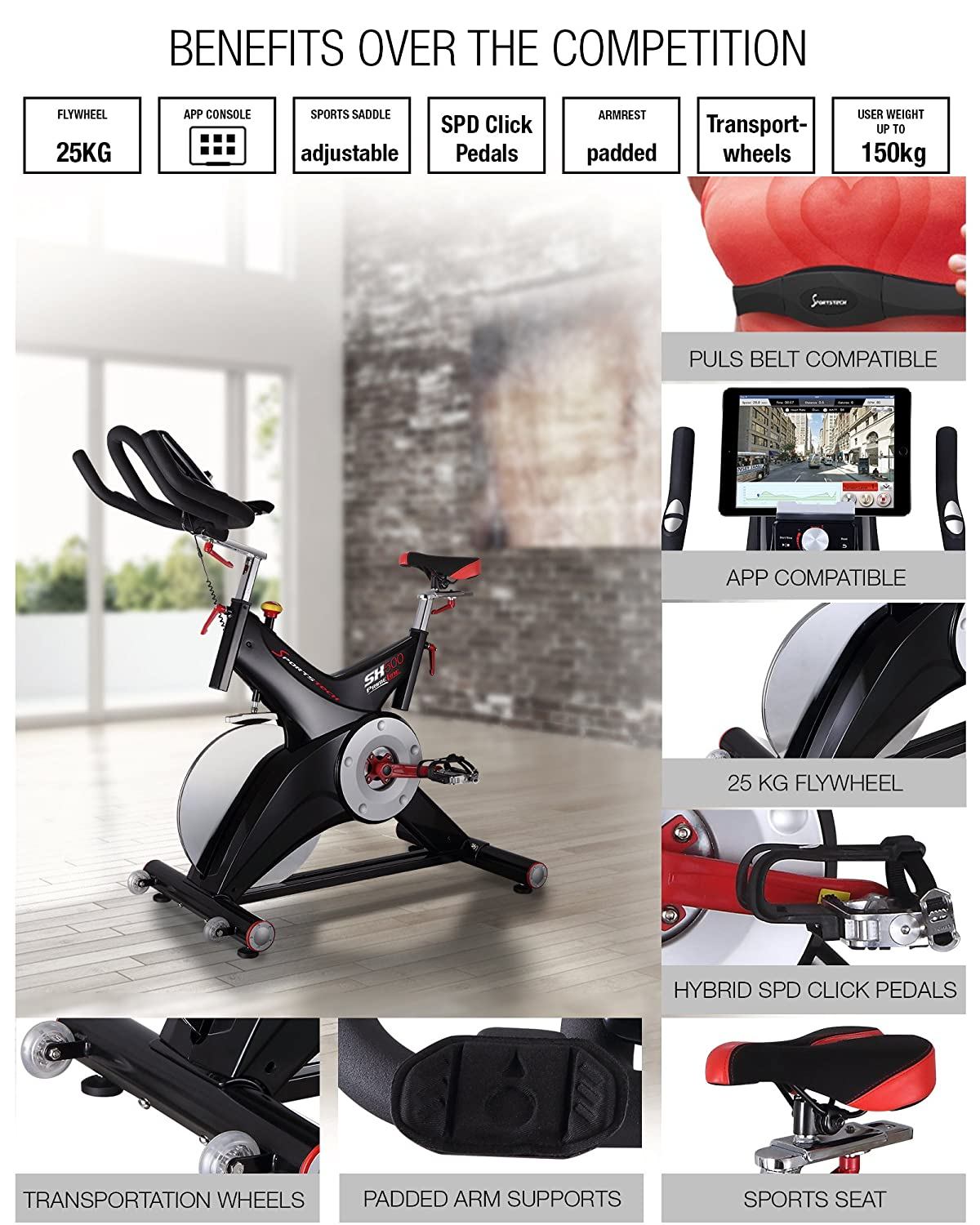 sportstech SX500 indoor exercise bike