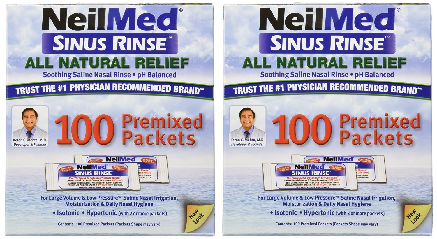 NeilMed Rinse Regular Mixture Packets for Allergies and Sinus, 200 Count (Pack of 10)