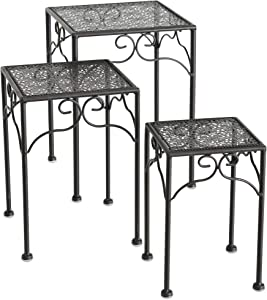 Farmers Market Metal Plant Stands, Set of 3, Nesting, Square Top, Low Rise Pedestals, Romantic Dark Brown, Rust Resistant, Iron, Approx. 15, 13 and 11 Inches Tall, Outdoor Garden Collection