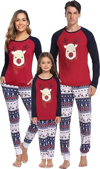 Aibrou Pijamas de Navidad Familia Conjunto Pantalon y Top Pijamas Mujer Hombre Invierno Manga Larga Pijama de Dormir 2 Piezas Niños Niña Ropa de ...