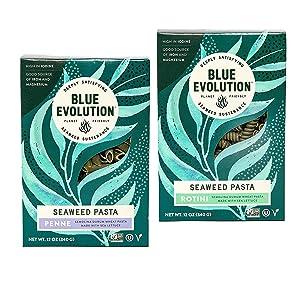 Blue Evolution Seaweed Pasta, Nourishing Superfood Penne & Rotini Bundle, Whole Food Vegan Pasta, 12 OZ (3 Pack of Each)