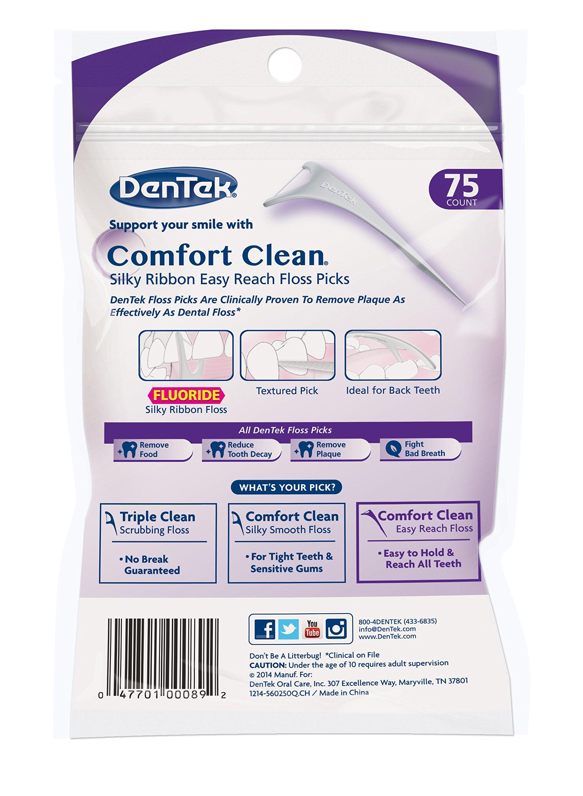 Dentek Comfort Clean Floss Picks | Silky Ribbon Floss to Remove Food & Plaque | 75 Picks | Pack of 6 by DenTek (Image #2)