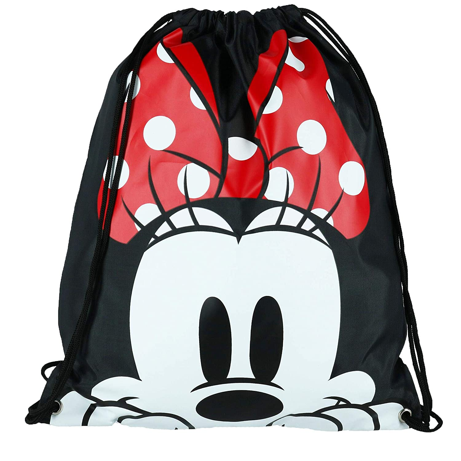 Black Disney Minnie Mouse Face Drawstring Tote Backpack