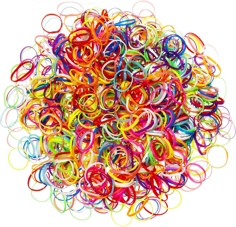 Paquete de 1000 Mini Gomas de Pelo Bandas Elásticas Suaves para Pelo de Niños, Trenzas, Peinado de Boda y Más (Multicolor)