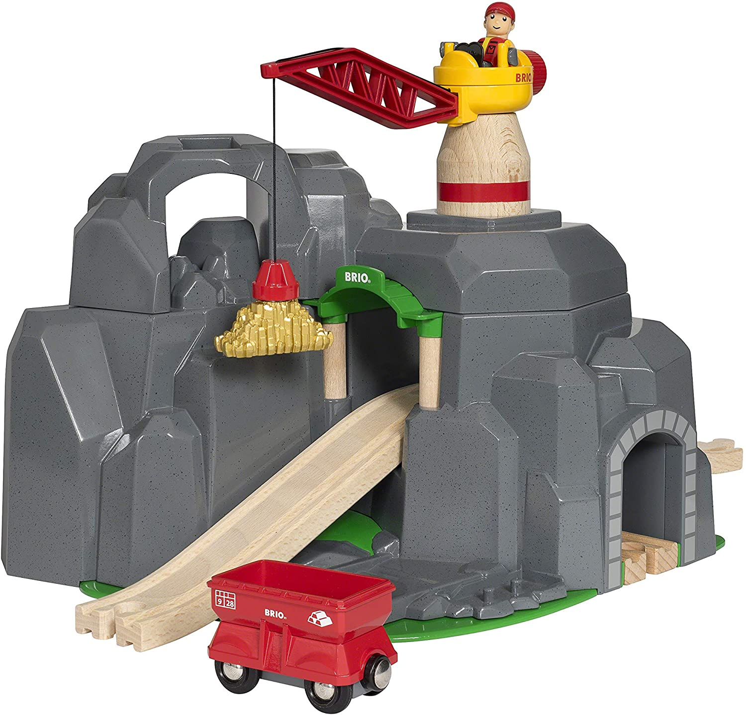 Brio World - 33889 Crane & Mountain Tunnel | 7 Piece Toy Train Accessory for Kids Ages 3 and Up