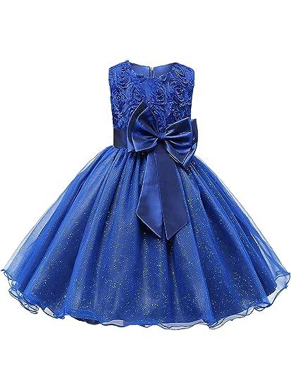 1380a69dda2b4 Eleasica Bébé Fille sans Manche Robe Habillée Princesse Fleur Paillette  Tulle Multi-Couche Robe de