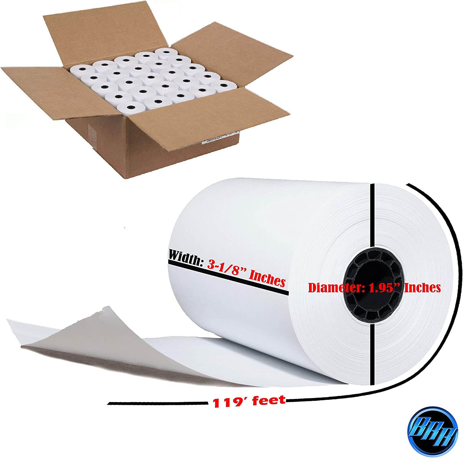 50 Rolls 3 1//8 X 119 Thermal Credit Card Paper Rolls Star Micronics TSP300