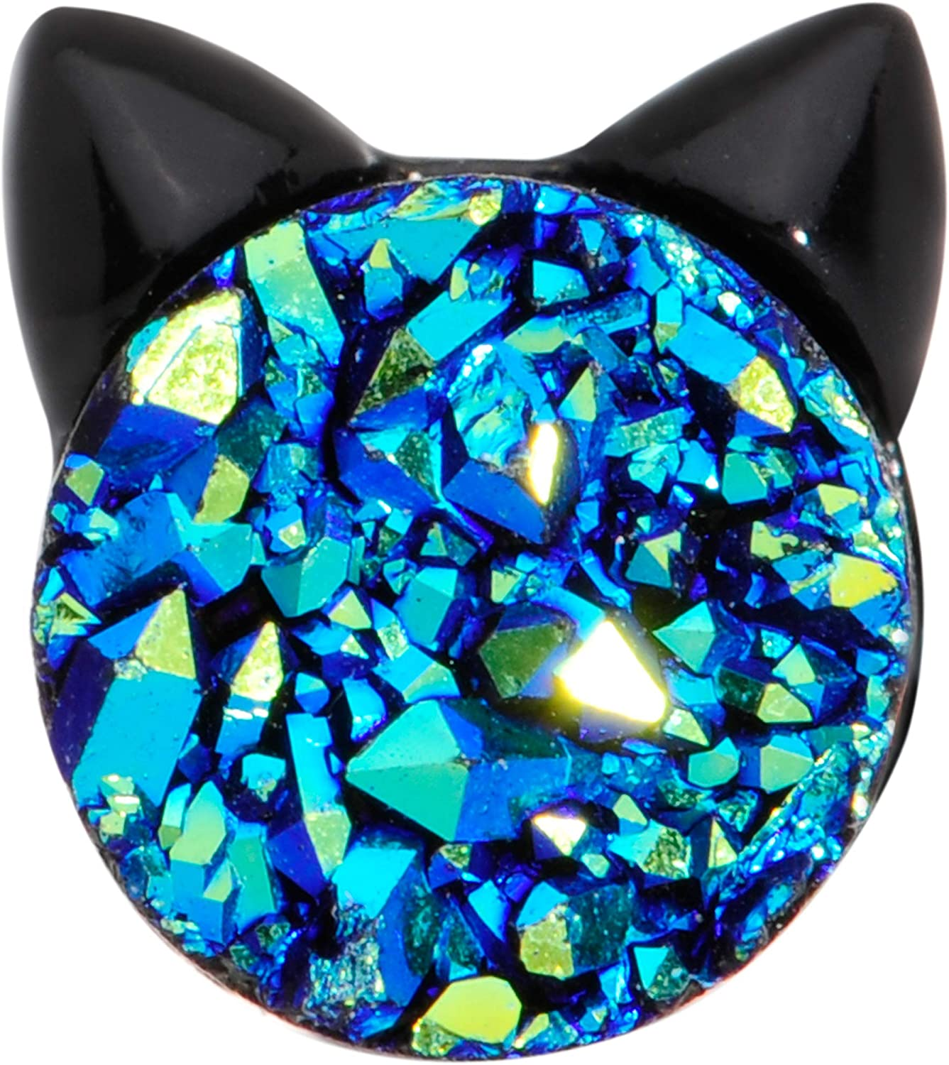 Body Candy 16G Black Plated Steel Helix Stud Tragus Cartilage Earring Blue Accent Black Cat Body Jewelry 6mm