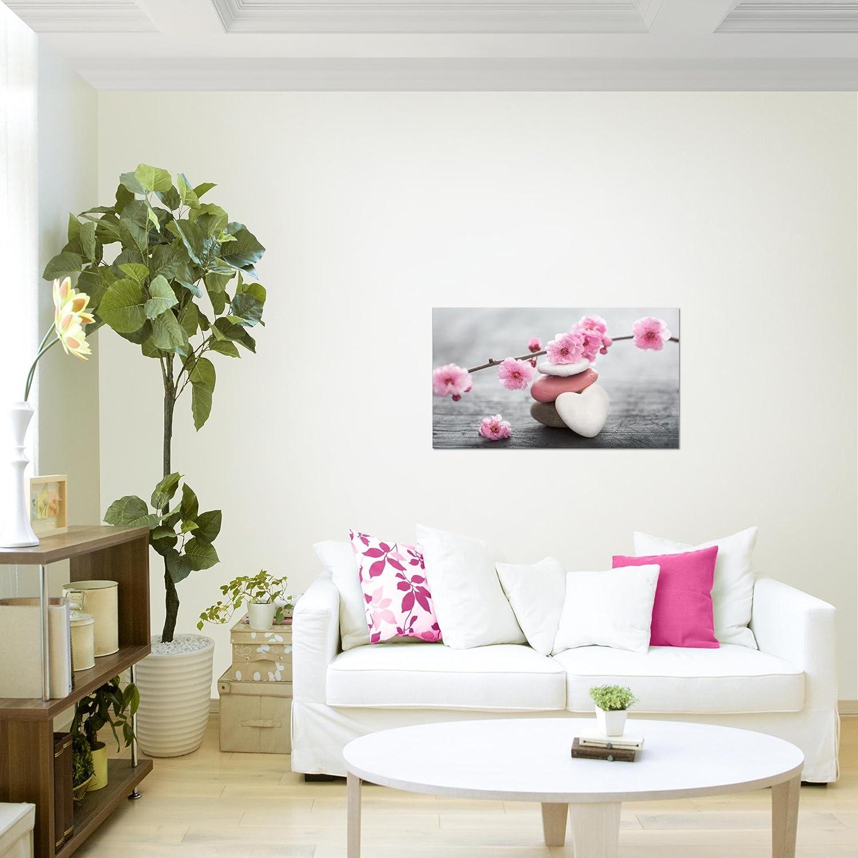 Tableau Fleurs de Feng Shui Décoration Murale 70 x 40 cm Toison - Toile  Salon Appartement Décoration pas cher