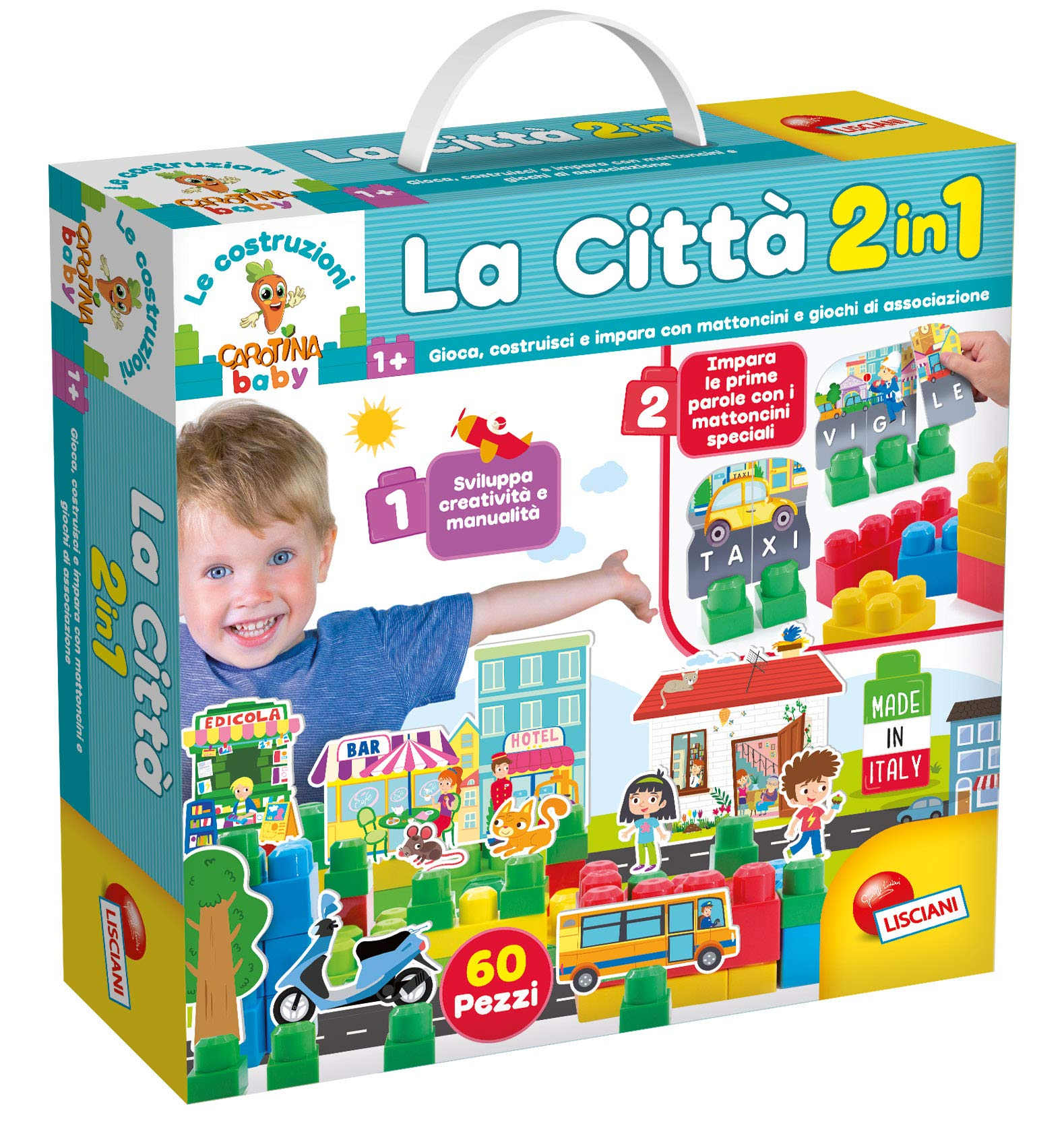 Lisciani Games-The Building of carotina The Citta, 2in 1, Multi-Colour, 68562