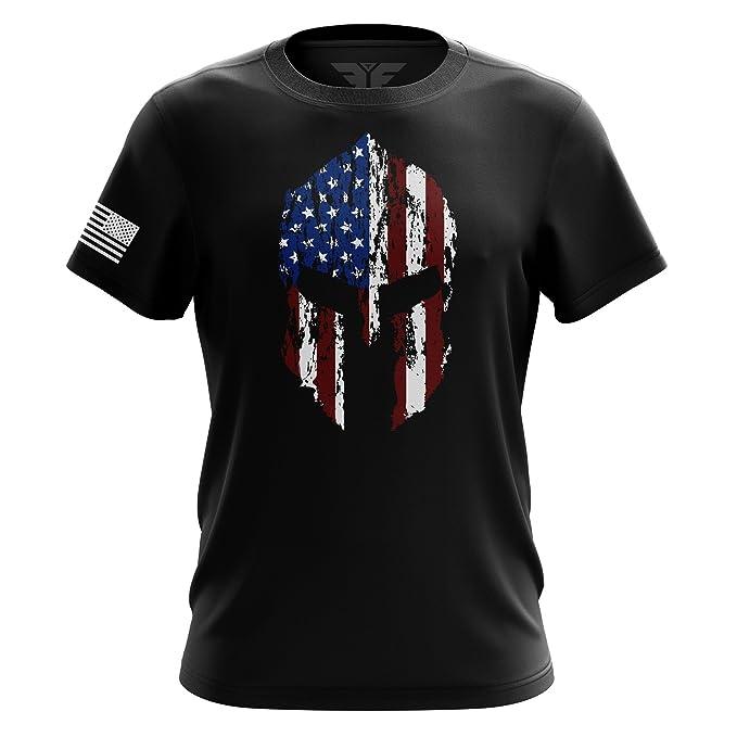 0a567ebc2 Amazon.com: American Spartan Flag Molon Labe T Shirt: Clothing
