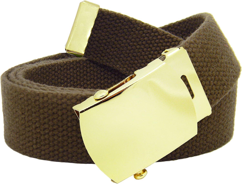 Mens Gold Slider Belt Buckle with Printed Canvas Web Belt