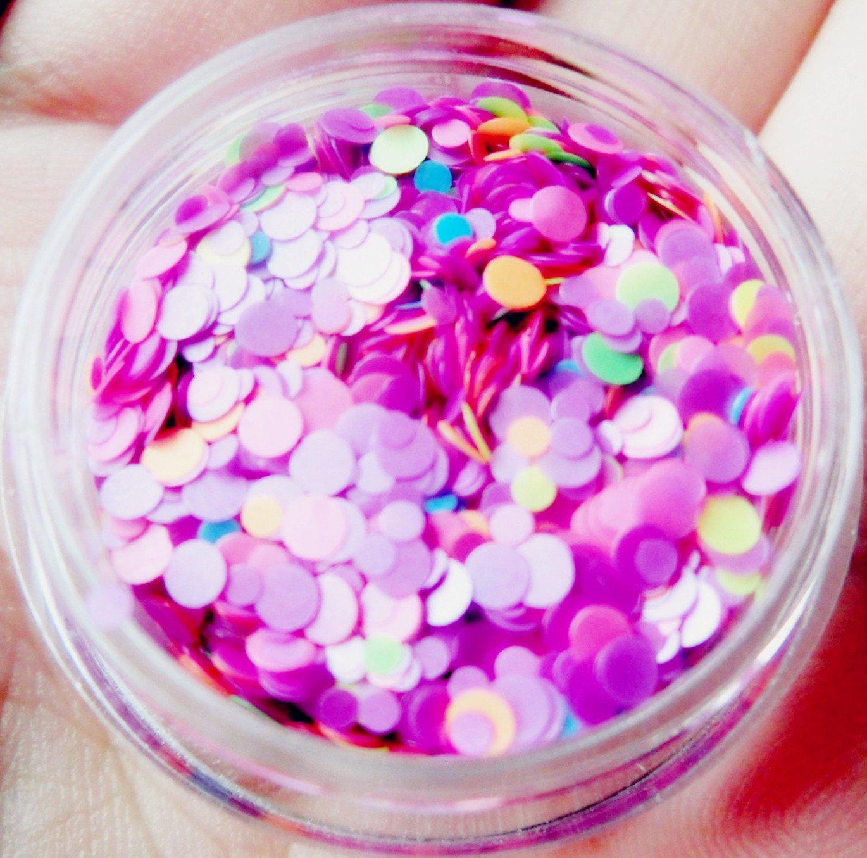 Round 1mm 2mm Glitter Mix Kit (6PK) - Solvent Resistant, Vibrant Color, Matte Finish (No Sparkle) - Neon Matte Chrome Pigments Nail Art Decoration Gel Manicure - 6 Colors Set
