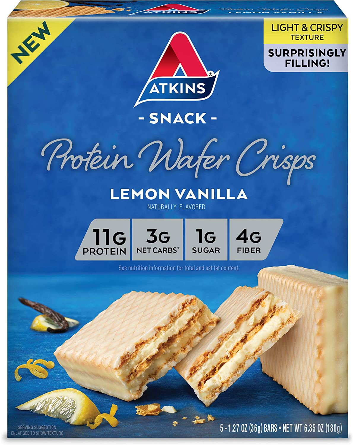 Peanut Butter Atkins Protein Wafer Crisps 5 Count 2-Pack Keto Friendly