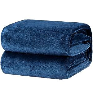 Bedsure Fleece Blanket Queen Size Navy Lightweight Super Soft Cozy Luxury Bed Blanket Microfiber