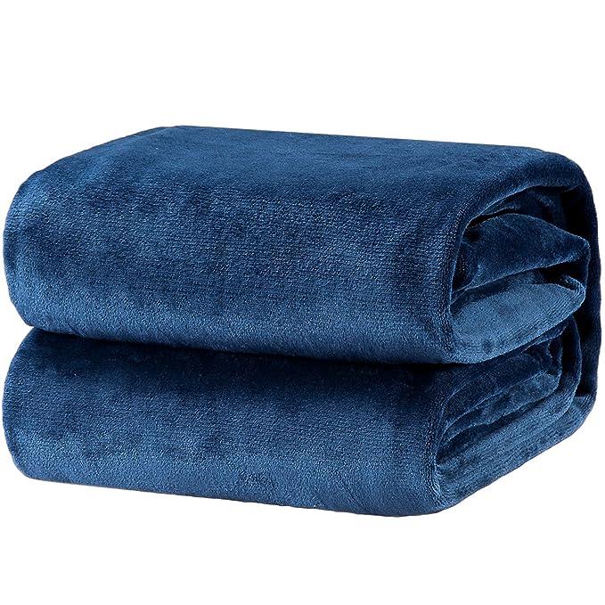 Bedsure Flannel Fleece Luxury Blanket Navy Queen Size Lightweight Cozy Plush Microfiber Solid Blanket By by Bedsure