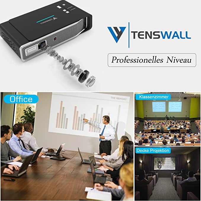 TENS Wall proyector, 3800 Lumens Mini DLP proyector 1280 x 800 ...