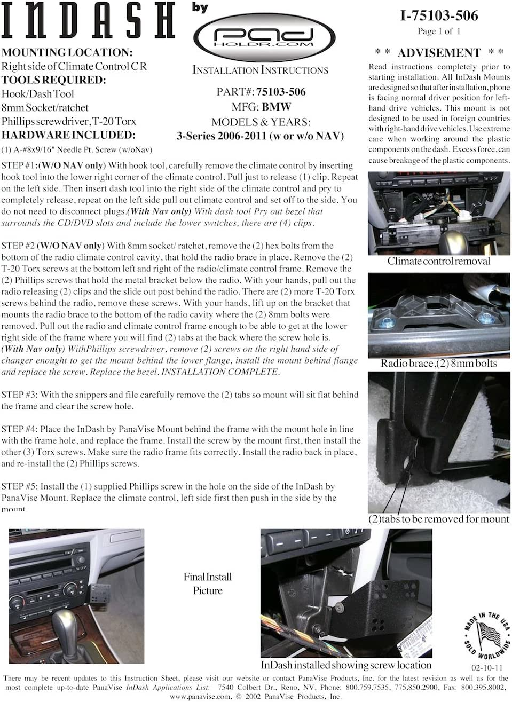 Padholdr Social Series Premium Tablet Dash Kit for 2000-2006 BMW X5