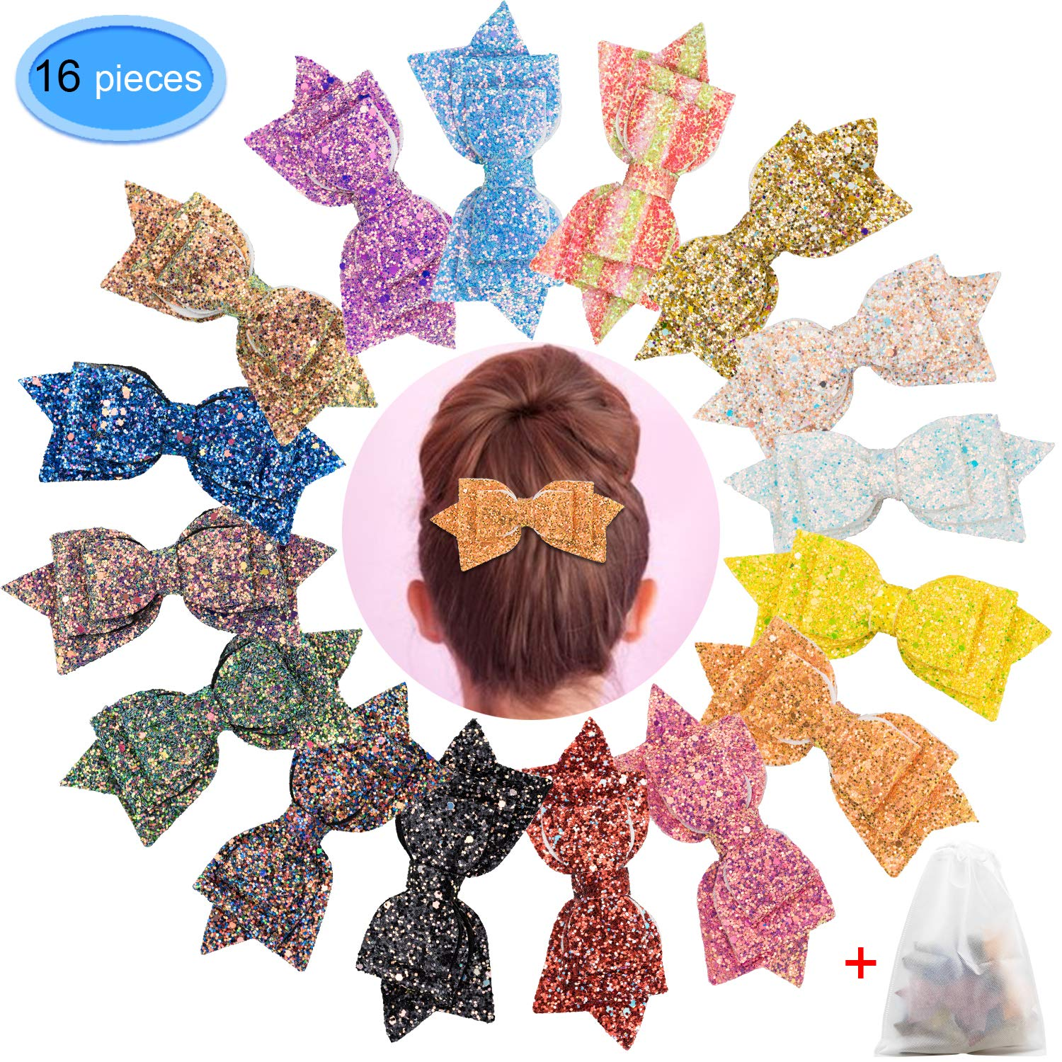 Glitter Hair Bows 16 Pieces, EAONE 5 Inch Sparkle Hair Bow Clips Sequins Boutique Hair Accessories Clip For Girls Toddlers Teens Women, 16 Colors