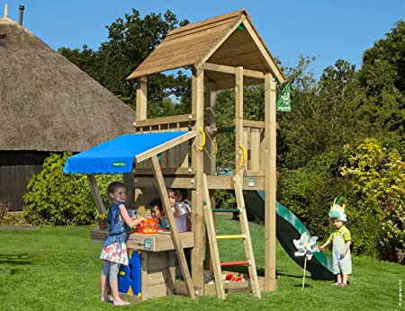 Jungle Gym Club Mini Market Verde Oscuro Parques Infantiles de Madera para Jardin con Tobogan: Amazon.es: Juguetes y juegos
