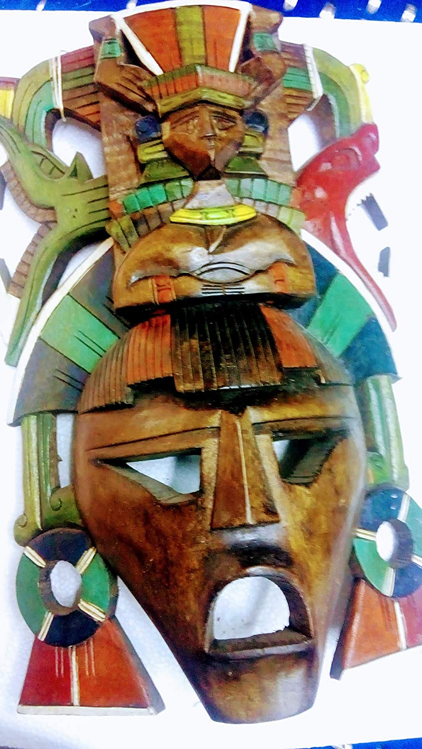 Mask Of Wod Archaeological Mask Large Decorative Wood Mayan Warrior Unique Piece Unique Sculpture Worked By Hand In Wood Handmade