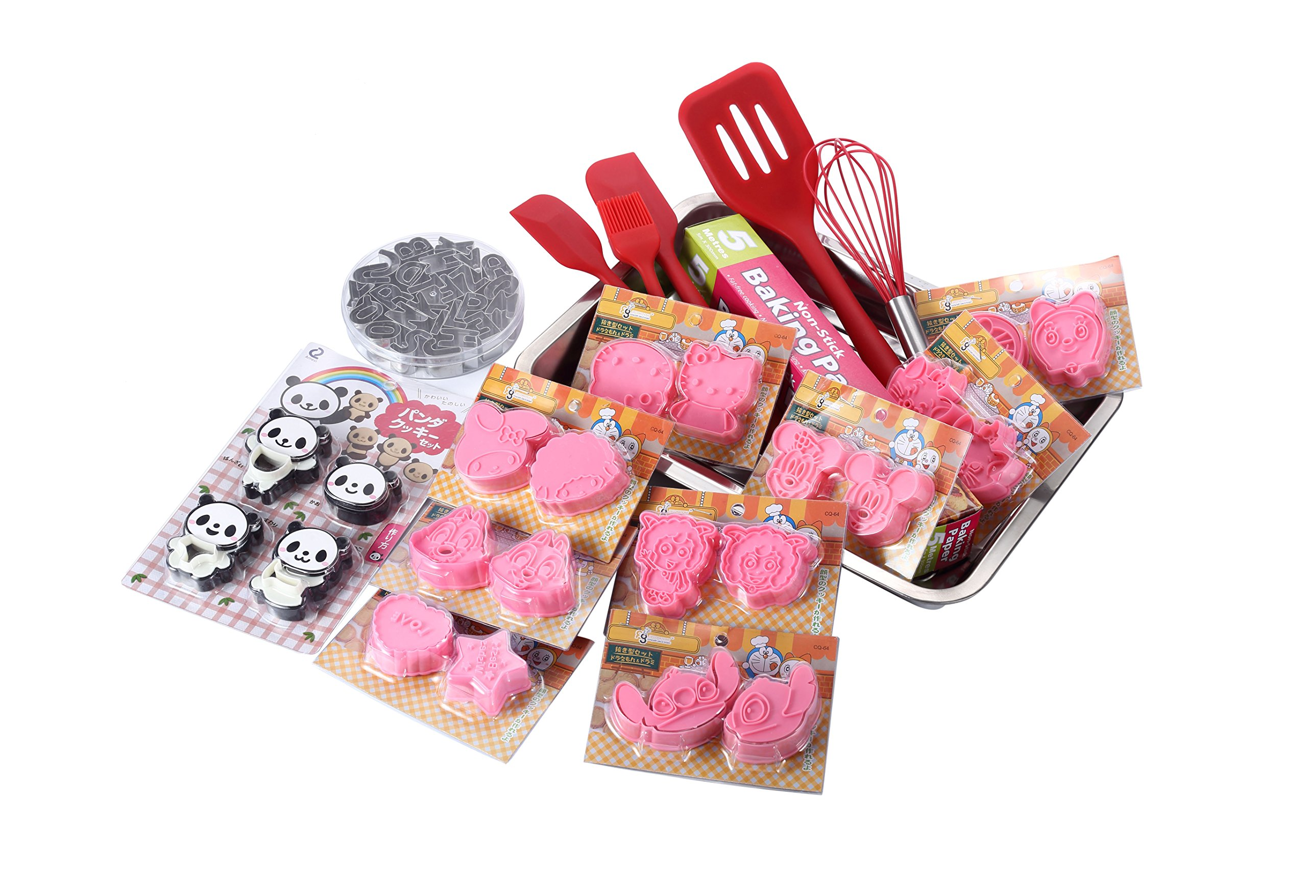 Cookie Kit 20+ Assorted Character Molds 5 piece Silicone Utensils Alphabet Molds Non-Stick Paper and Pan