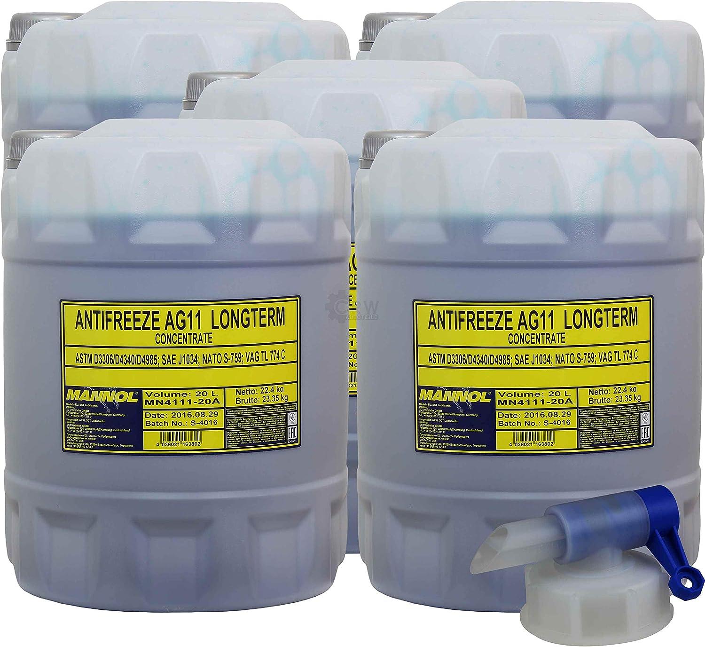 100l 20l Kühlflussigkeit Mannol Antifreeze Ag11 Frostschutz Blau Auslaufhahn Auto