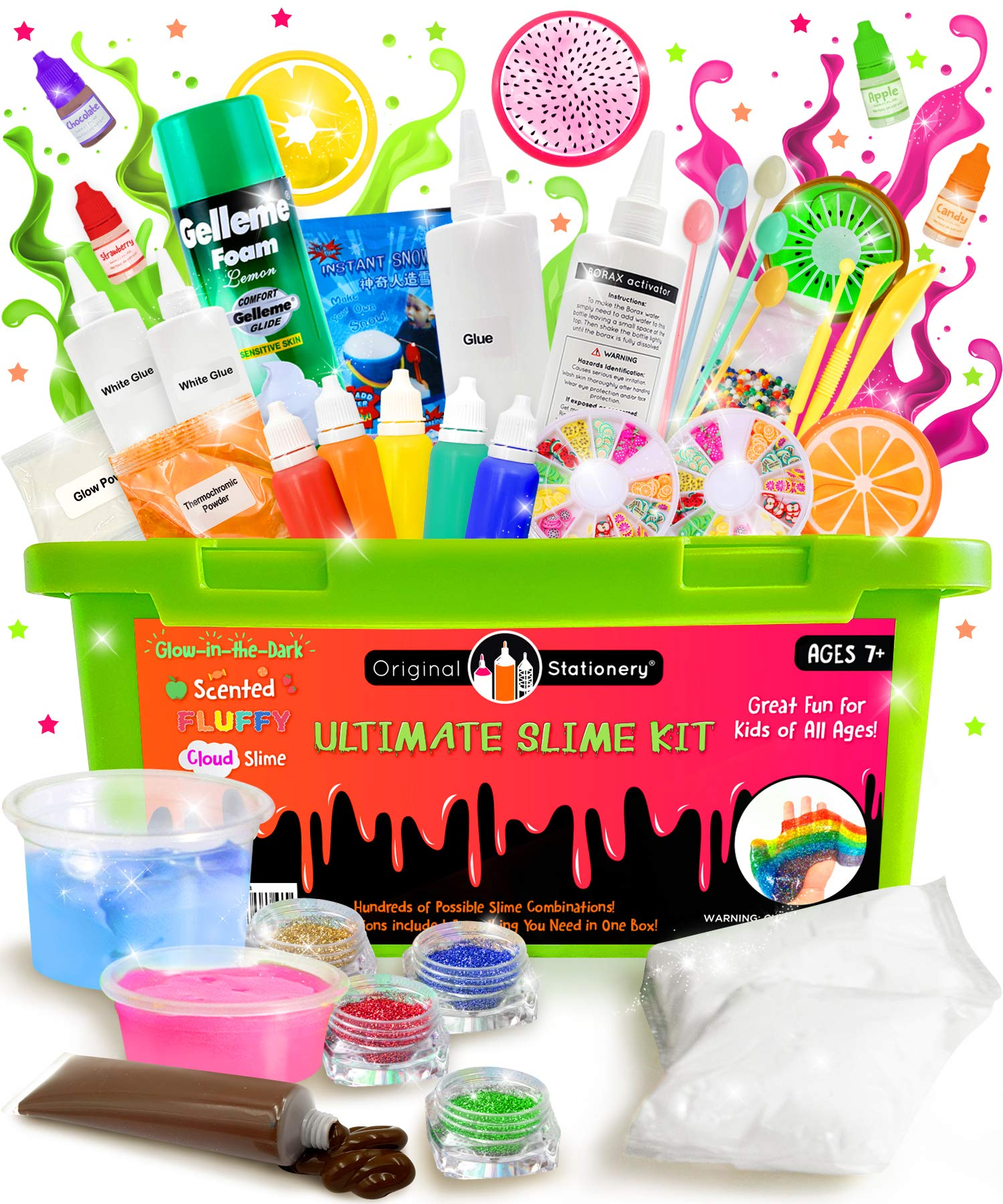 Original Stationery Ultimate Slime Kit: DIY Slime Making Kit with Slime Add Ins Stuff for Unicorn, Glitter, Cloud, Butter, Floam and More - Deluxe Slime Kits for Girls and Boys (Green, 53pcs) by Original Stationery