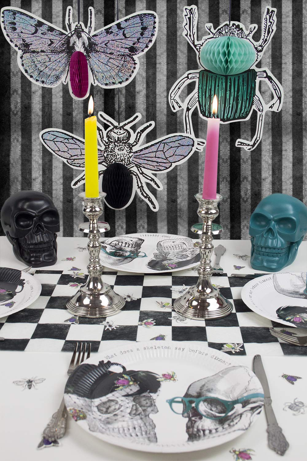 Talking Tables Truly Alice in Wonderland Checkered Fabric Table Runner for a Tea Party or Birthday, Monochrome