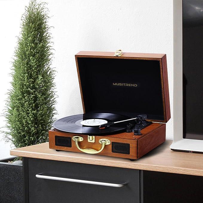 MUSITREND Tocadiscos de Vinilo con 2 Altavoces incorporados, (33 y 45 RPM, USB, FM) Reproduce MP3, Salida RCA, Madera Natural