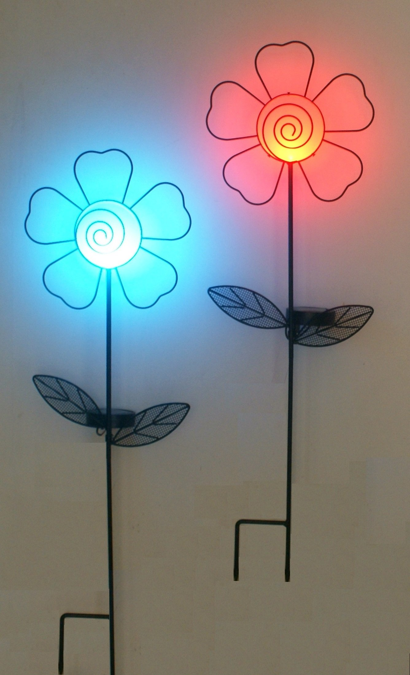 TIAAN Set of 2 Sun Flower LED Light LED Color Changing Solar Stake Lights Outdoor - Solar Light LED Garden Decor - Patio Lights LED Outdoor Multicolor Changing LED Lights
