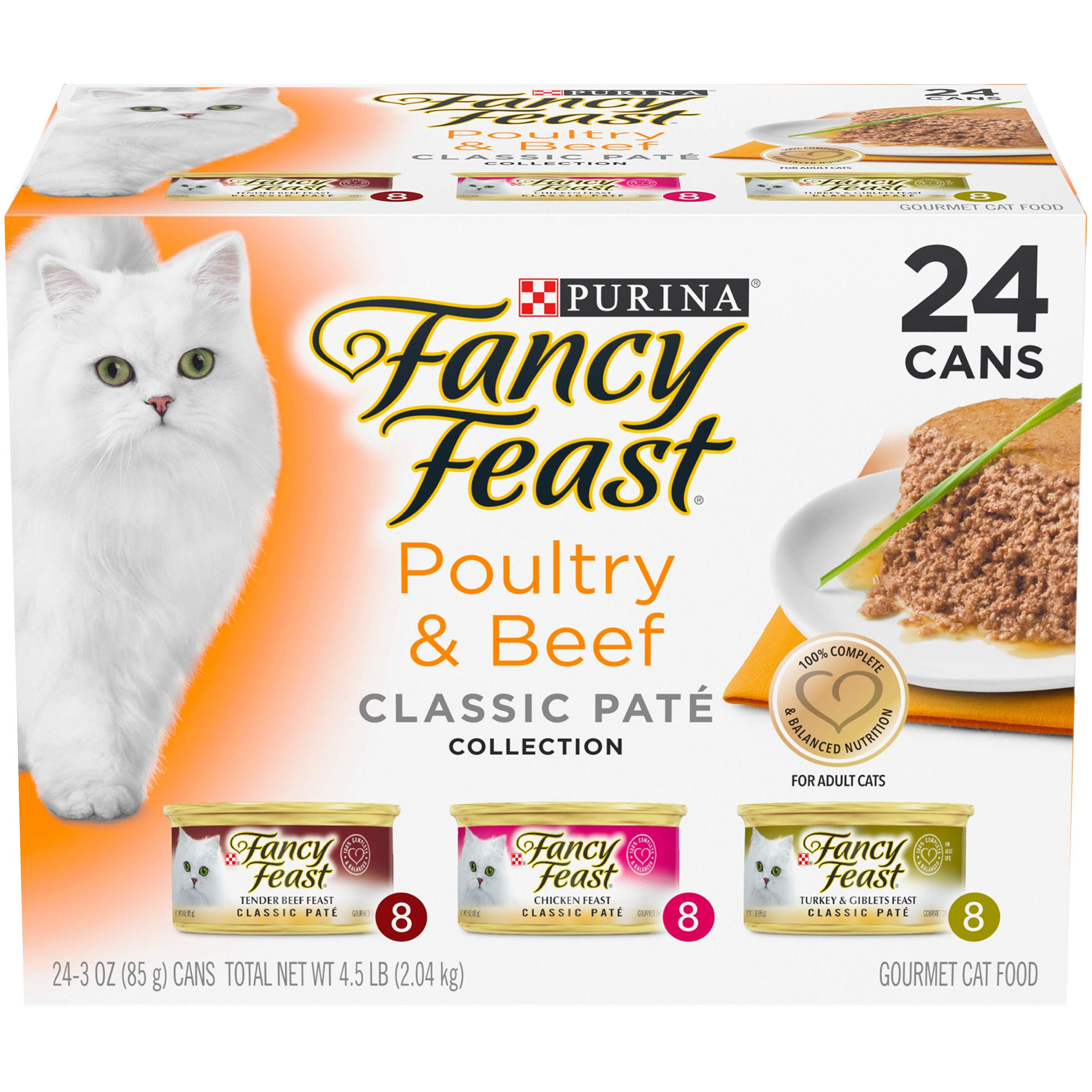 Purina Fancy Feast Grain Free Wet Cat Food Variety Pack Pate, Poultry & Beef Collection - (24) 3 oz. Cans