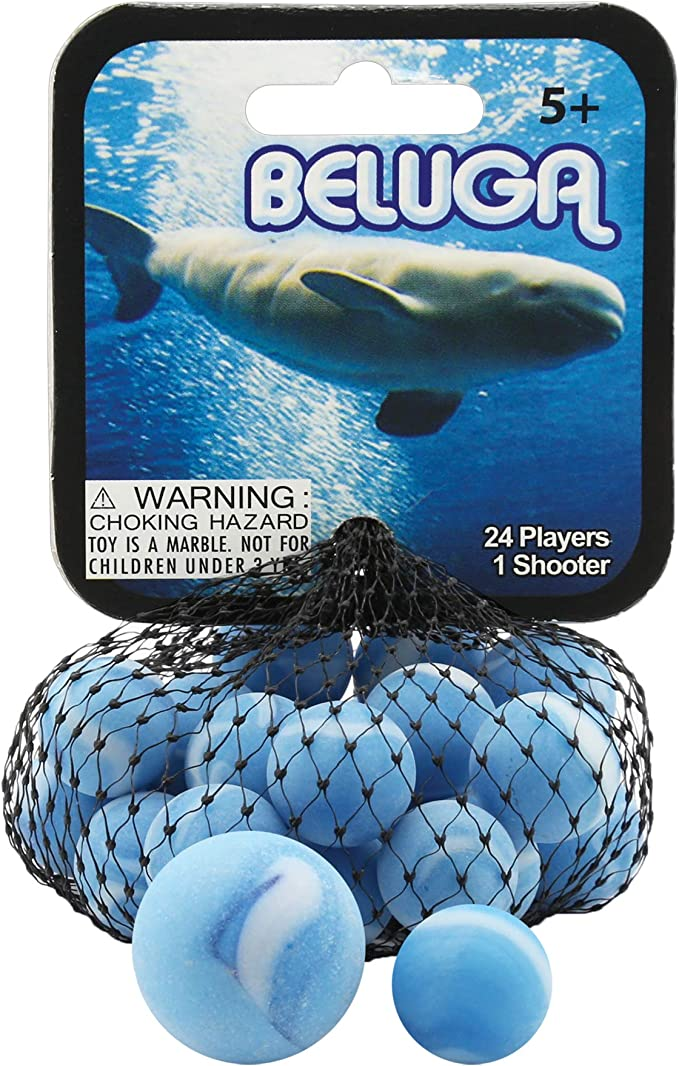 Mega Marbles 3 Pack Blue Dolphin Tiger Shark Beluga Game Nets Includes 1 Shooter Marble 24 Player Marbles Per Net Toys Games