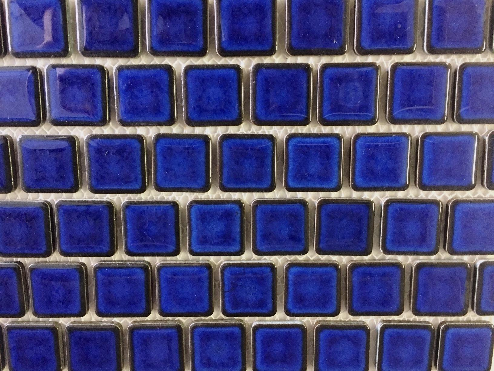 Vogue Premium Quality 1'' x 1'' Cobalt Blue Porcelain Mosaic Tile on Mesh on 12x12 sheet, Designed in Italy (PACK OF 3 SHEETS)