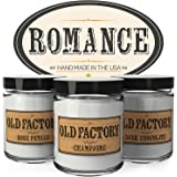 Scented Candles - Romance - Set of 3: Rose Petals, Champagne, and Dark Chocolate - 3 x 4-Ounce Soy Candles - Perfect Valentines Day Gift for Her
