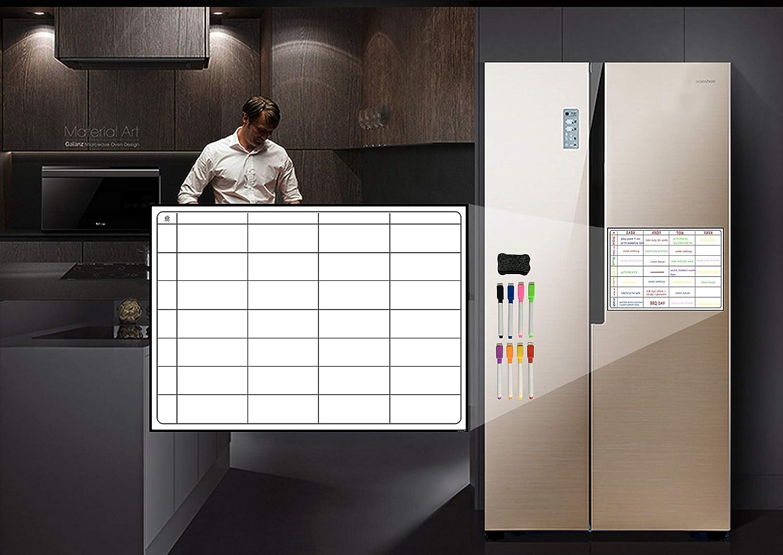 Pizarra de Notas Oficina Pizarra Blanca magn/ética para frigor/ífico Organizador Familiar hogar LOBZON Lista de la Compra Incluye 8 rotuladores semanales Blanco Agenda de Comidas para Nevera