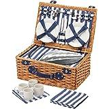 Kitchen Craft Coolmovers–Cesta de picnic de mimbre para 4personas