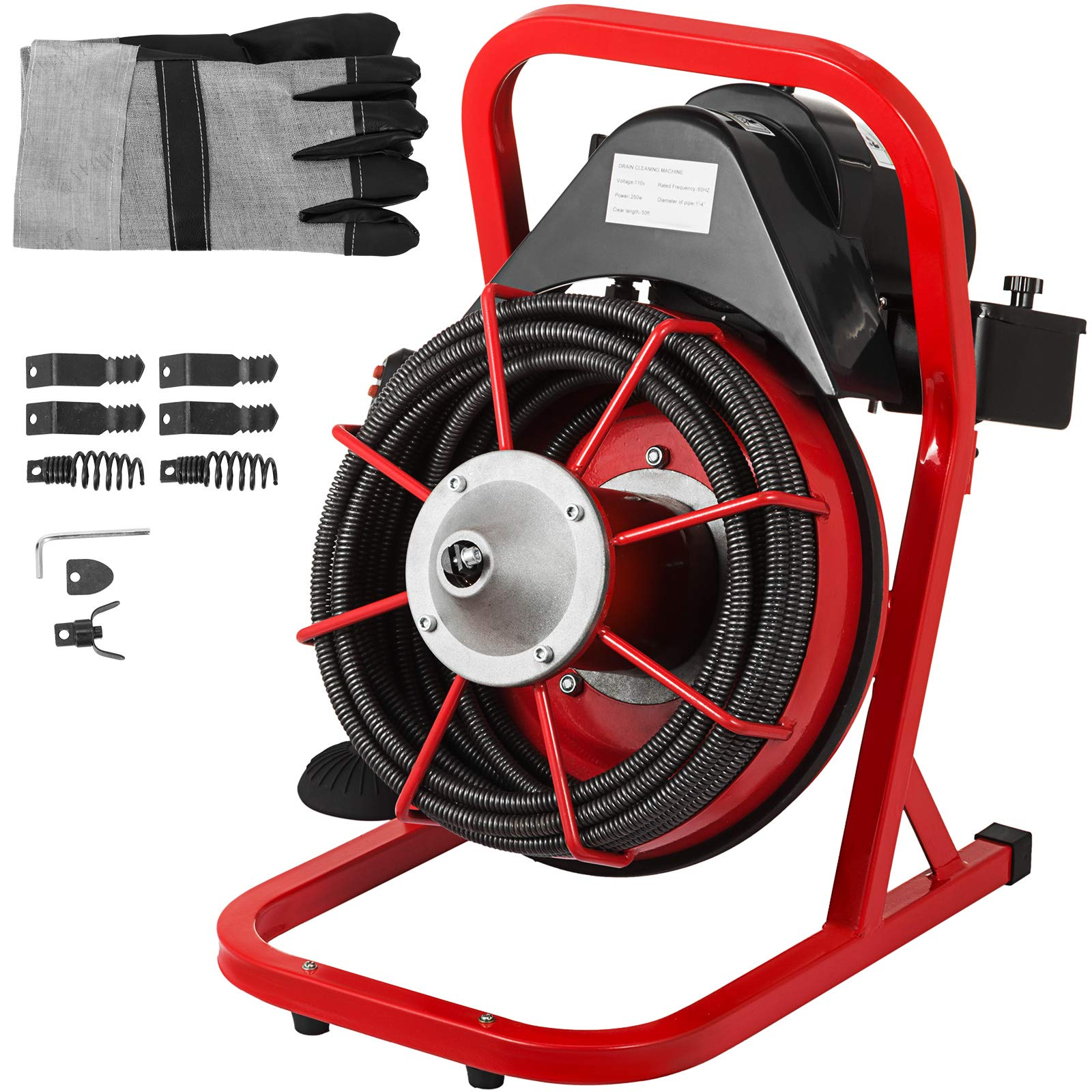 VEVOR 50 Ft x 1/2 Inch Drain Cleaner Machine Best fit 1''(25mm) to 4''(100mm) Pipes Drain Cleaning Machine Portable Drain Auger Cleaner with 4 Cutters Electric Drain Auger Plumbing Tool (50Ft x 1/2In) by VEVOR (Image #1)