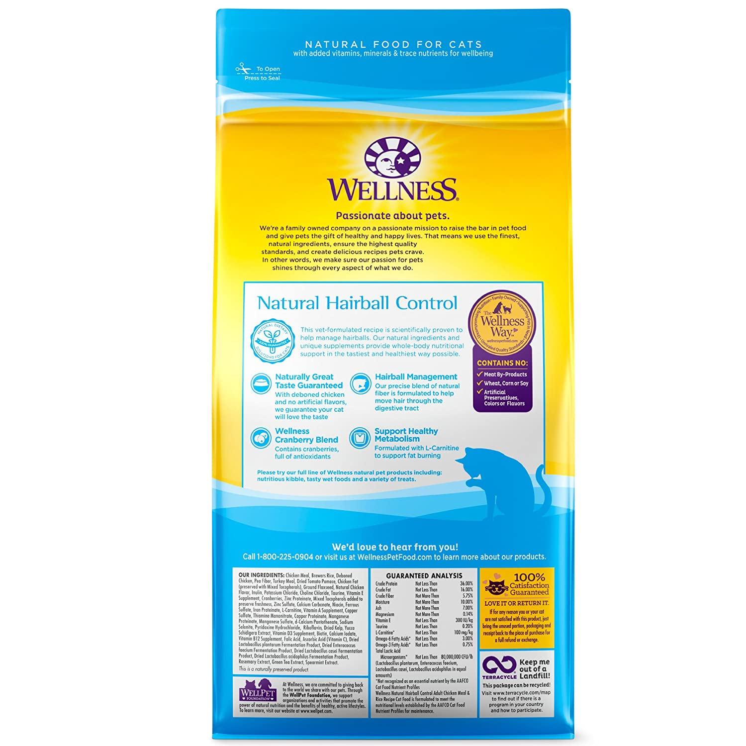 Amazon wellness complete health natural dry cat food hairball amazon wellness complete health natural dry cat food hairball control chicken recipe 25 pound bag pet supplies gumiabroncs Choice Image