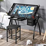 Kealive Adjustable Drafting Table, X-Cross Glass Top Drawing Table Art Desk Hobby Table Writing Desk Art and Craft Station wi
