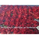 144 ROSE ROSELLINE ROSSE per BOMBONIERE SPOSI LAUREA COMPLEANNO
