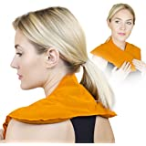 Neck and Shoulder Ice Pack Wrap - Pain Relief when Cold or Hot with a Microwaved Heated Pad (Orange Physio)