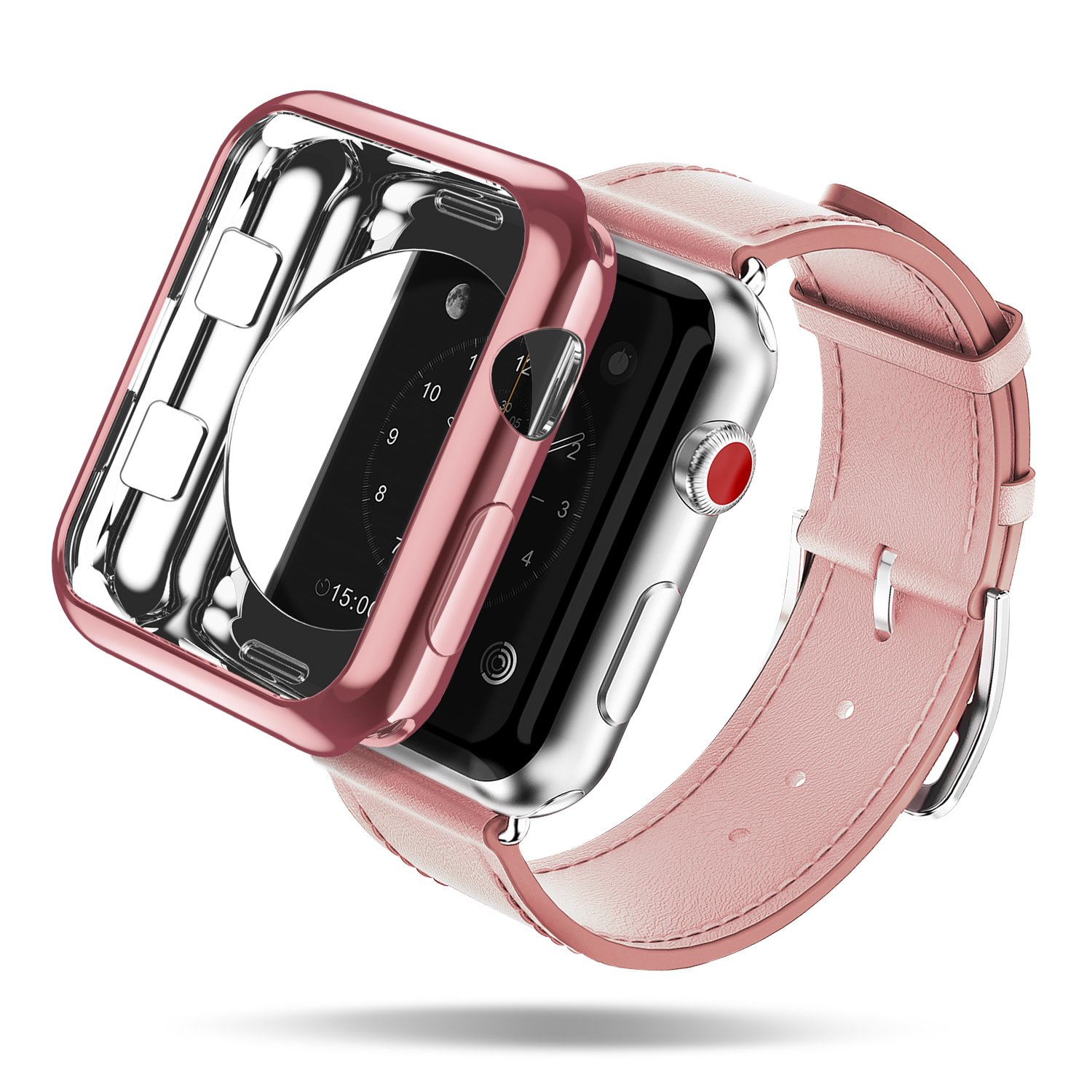 Apple Watch Case, DUX DUCIS Ultra Slim Lightweight Protective Bumper iWatch Cover for All Versions 38mm Apple Watch Series 3 / Series 2 Sport & Edition ( One Free TPU Case As Extra Gift ) - Rose Gold